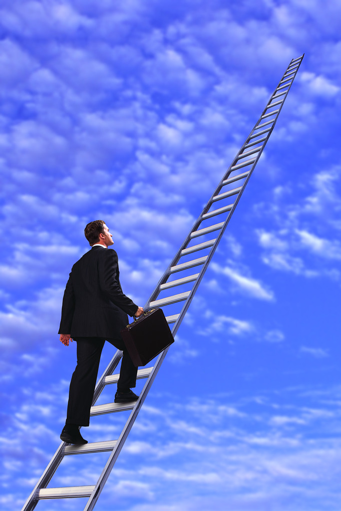 Man Walking up Ladder to Clouds