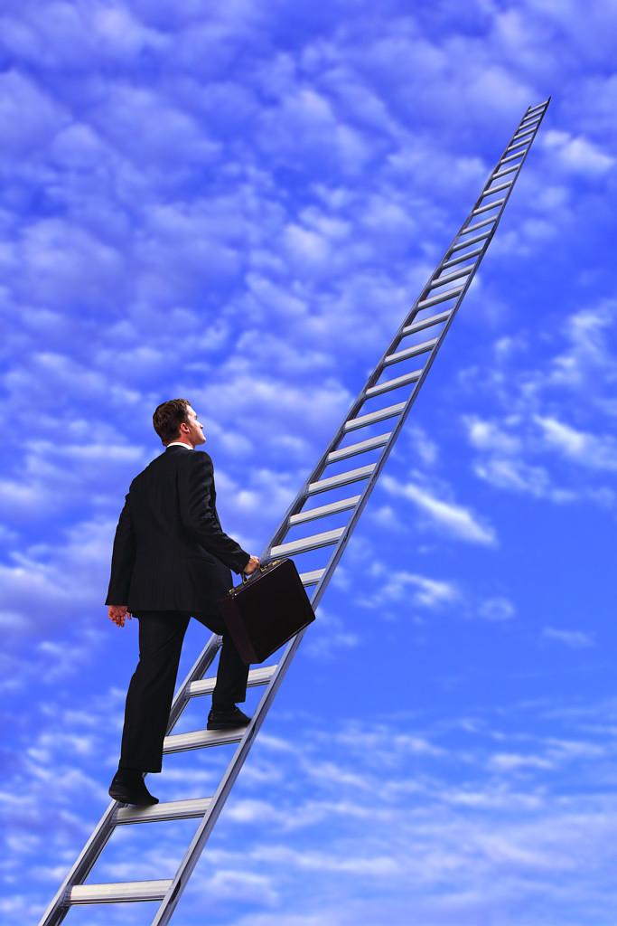 Man Walking up Ladder to Clouds