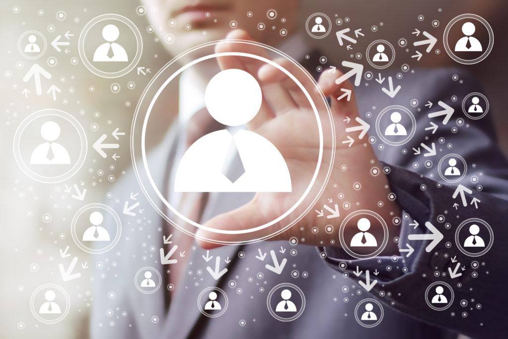 Businessman touch button interface web group.